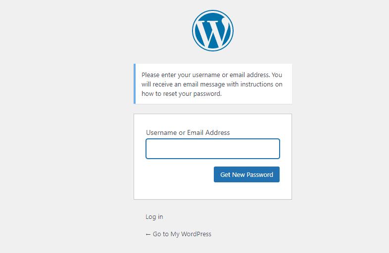 WP get new password window