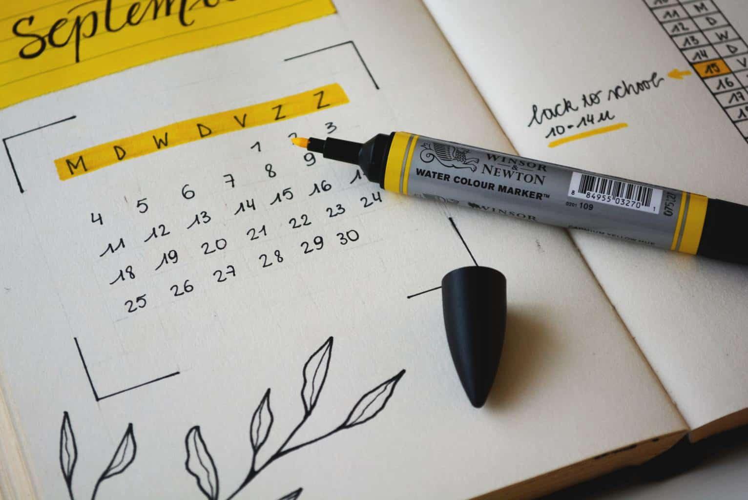 Calendar in notebook